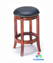 Wooden counter height stools with leather padded seat for sale