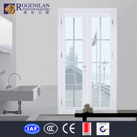 ROGENILAN white powder coated aluminum double leaf flush arched exterior door with glass