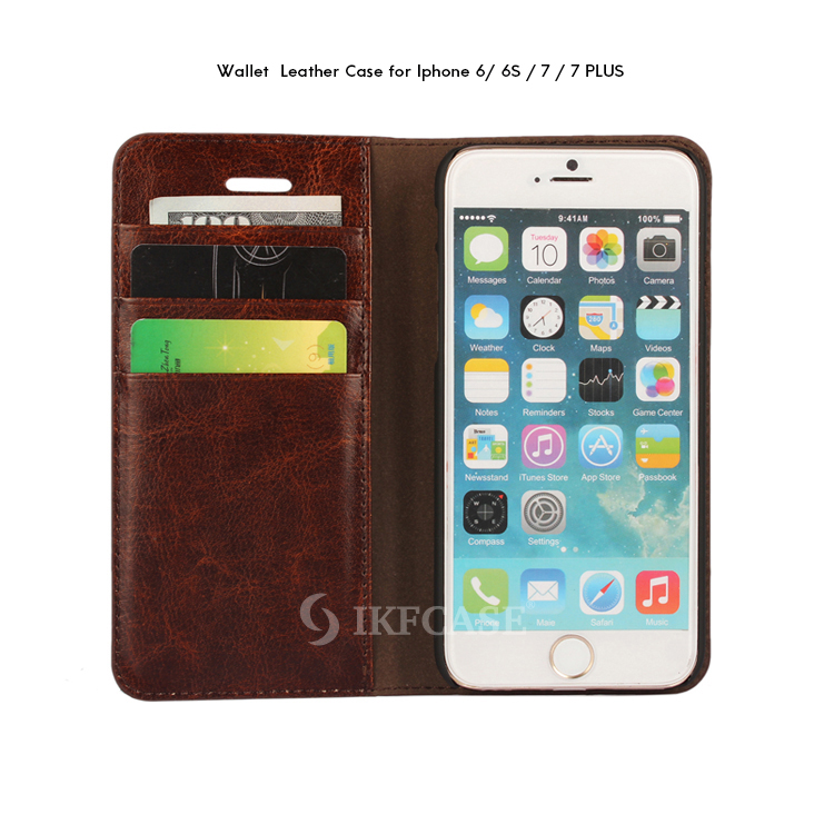High Quality Custom Luxury Mobile Phone Cover +Card Wallet PU Leather Case for Iphone 6 6s 6plus 7 7plus