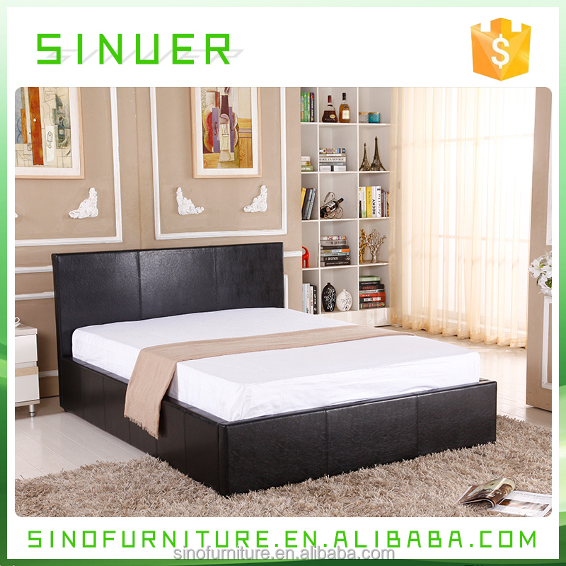 Classical design hotel unique black leather double teak wood bed frame
