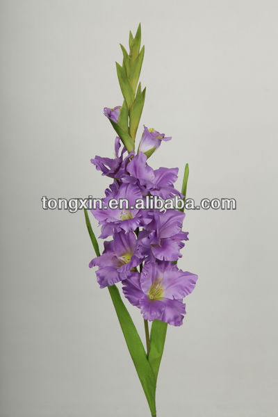 artificial stain material purple silk gladiolus