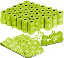 Green biodegradable,rectangle shaped dog waste bag /doggy poop bag on roll with dispenser