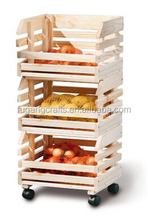 New designed solid wooden tall cabinet furniture, fruit stock use with universal wheel, three layer