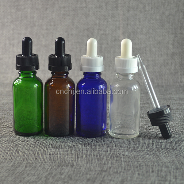 Best selling e liquid 30ml green blue red glass dropper bottles with temperproof cap