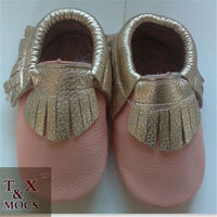 Pink baby baba shoes Soft Sole Leather Tassel Bow Shoes Infant Toddler Moccasin