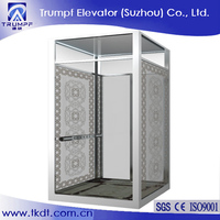 Small Home Lift With Tempered Glass Decoration