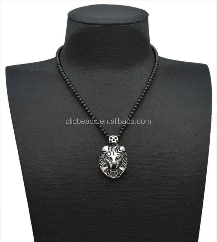 Balck Onyx Stainless Steel Lion Head Pendant Necklace,Beaded Necklace Men