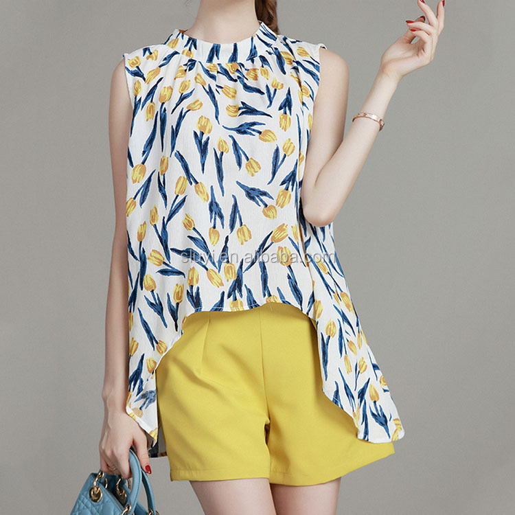 Ladies wholesale clothing in USA tulip front tops,Peplum blouse