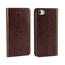 4 Colors Available Crazy Horse Pattern Oil Side Genuine Leather Wallet Case for iPhone 7