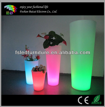 Environmental protection plastic material LED garden flower vase/LED pot for decoration