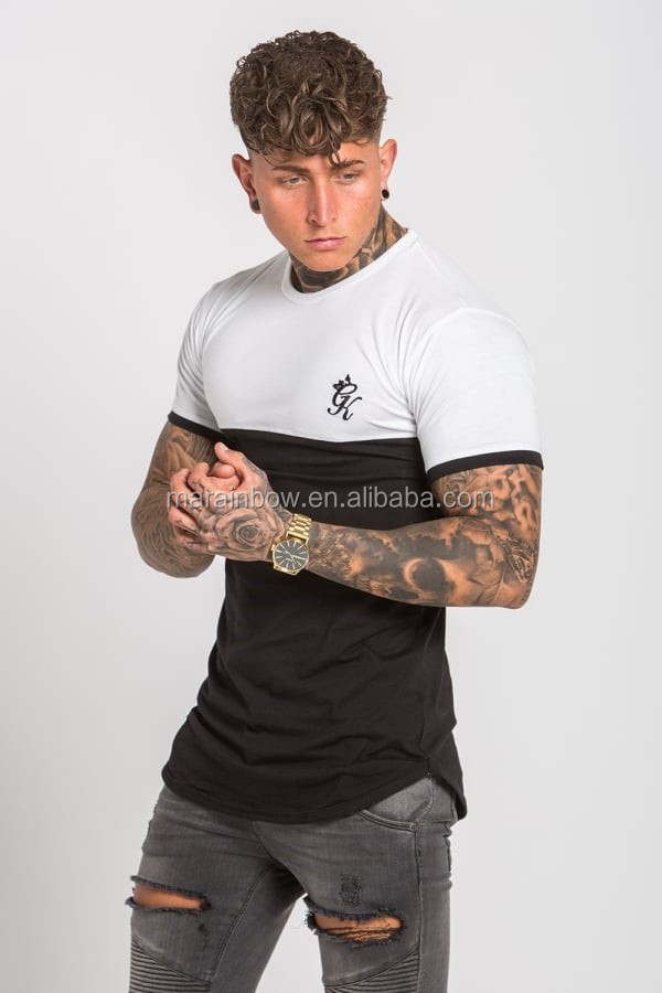 96% Cotton 4% Elastane Mens Gym Fitted Extend Long T-Shirt Short Sleeve Curved Hem Long Tee Tapered 2 Tone Panelled T Shirt