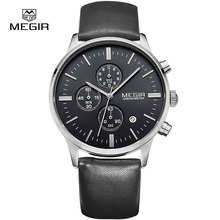 Top Megir 2011 Luxury Brand Men Business Genuine Leather Strap Date Clock Simple Fashion Men Quartz Chronograph Wrist Watches