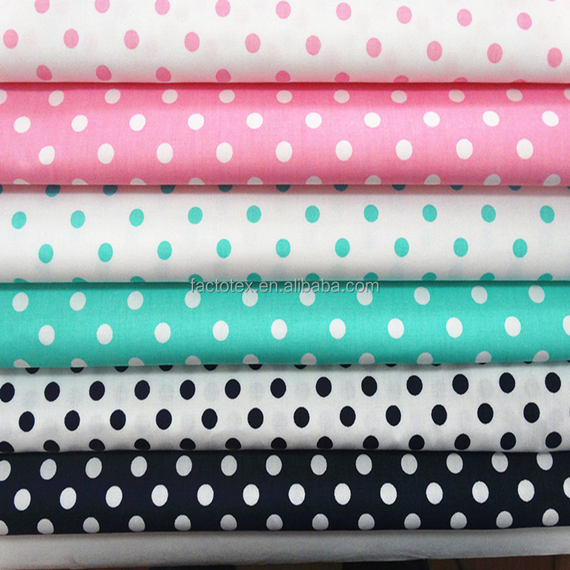 Pure Cotton Polka Dots Print Dress Fabric For Girls / Women
