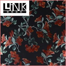 flower design soft polyester scuba elastane gold stamping foil fabric for fashion garment