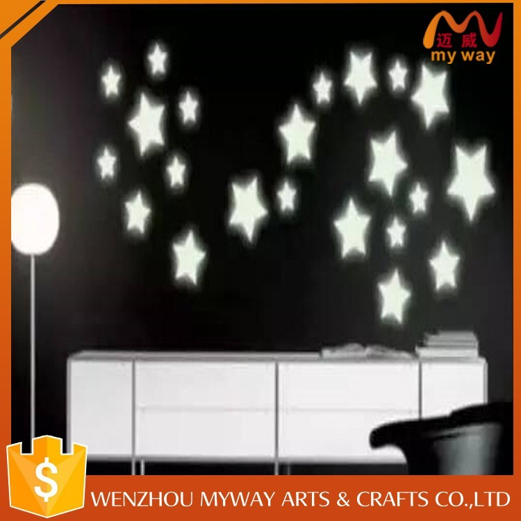 Promotion 2017 trending products 3d star moon glow in the dark wall sticker