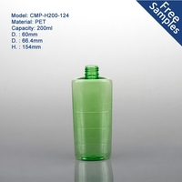 Workable price wholesale 200ml green transparent pet plastic bottle for cosmetic packaging