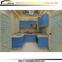 Luminated boutique artificial stone white foil wrap kitchen cabinet
