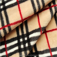 100% polyester plaid flannel fabric by the yard