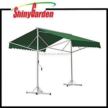 Doubl Sided Manual Retractable Free Standing Two-side Waterproof Retractable Awning