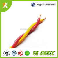 Red/yellow household 1.5mm 2 core shielded twisted pair cable