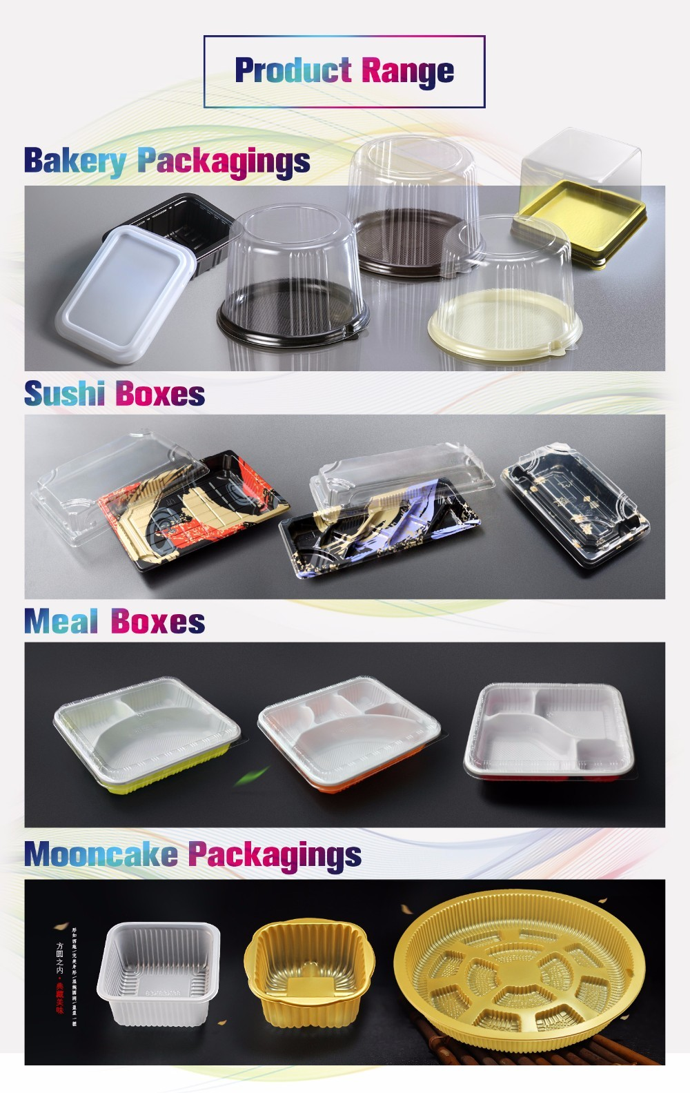 Golden PS material cake containers round cake trays