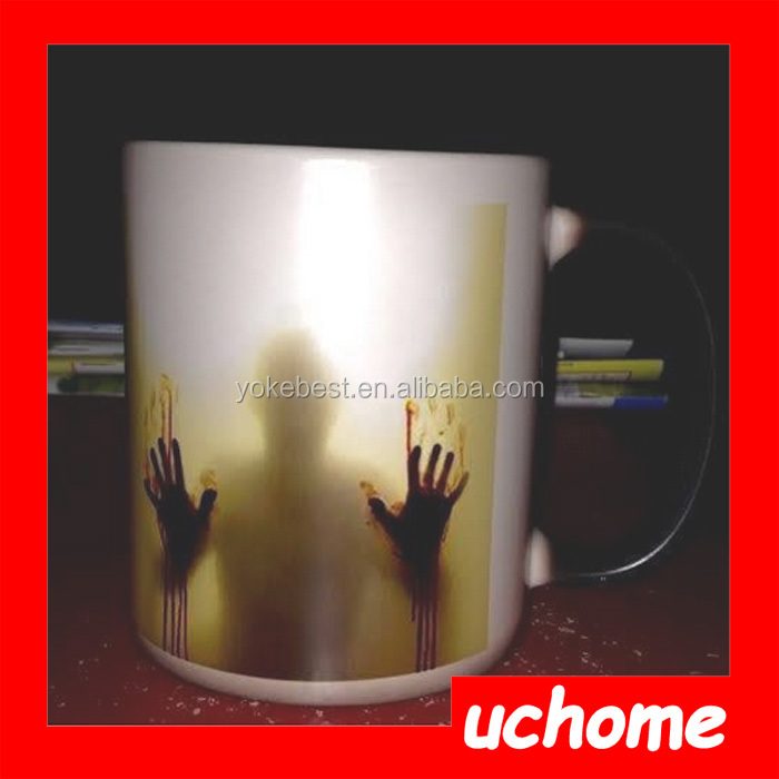 UCHOME Walking Dead Bloody Hands Heat Reactive Color Change Ceramic Coffee Mug Cup