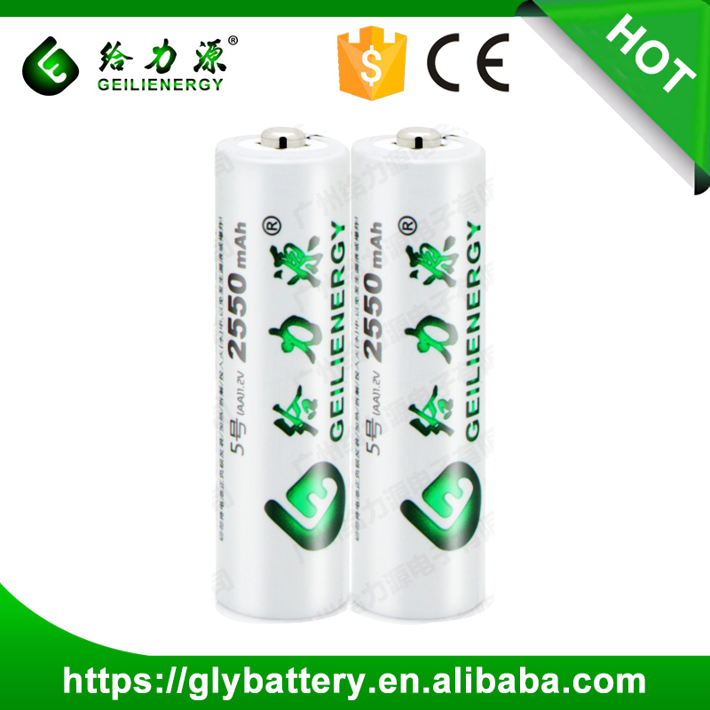 2550mAh AA Size 1.2V Nominal Voltage aa NI-MH Rechargeable Battery