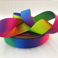 Rainbow ribbon high quality printed polyester ribbon DIY handmade materials, wedding gift wrap