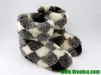 High Indoor Fur Boot Slippers Natural Wool Slippers Handmade Checkered