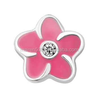 enamel crystal red white pink Plumeria Flower memory floating charm for locket