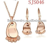 Fashion Baby Foot Design Rose Gold Stainless Steel Jewelry Set