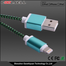 Colorful Nylon braided original 8pin MFi certified USB cable with Aluminum shell