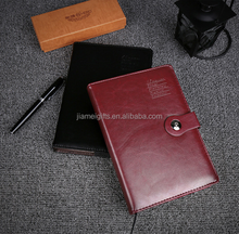 Customized brown A5 size schedule notebook,logo custom pu leather cover souvenir notebook,OEM handmade leather cover notebook