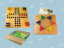 Wooden Chess board game set pieces bamboo board material Checkers ludo game