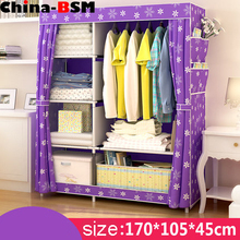 2016 Simple Assembled PP Tubes Non-woven Folding Cloth wardrobe desgin Portable Bedroom Wardrobe