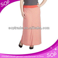 Fashion ladies skirts picture chevron elastic waist ladies maxi skirt long