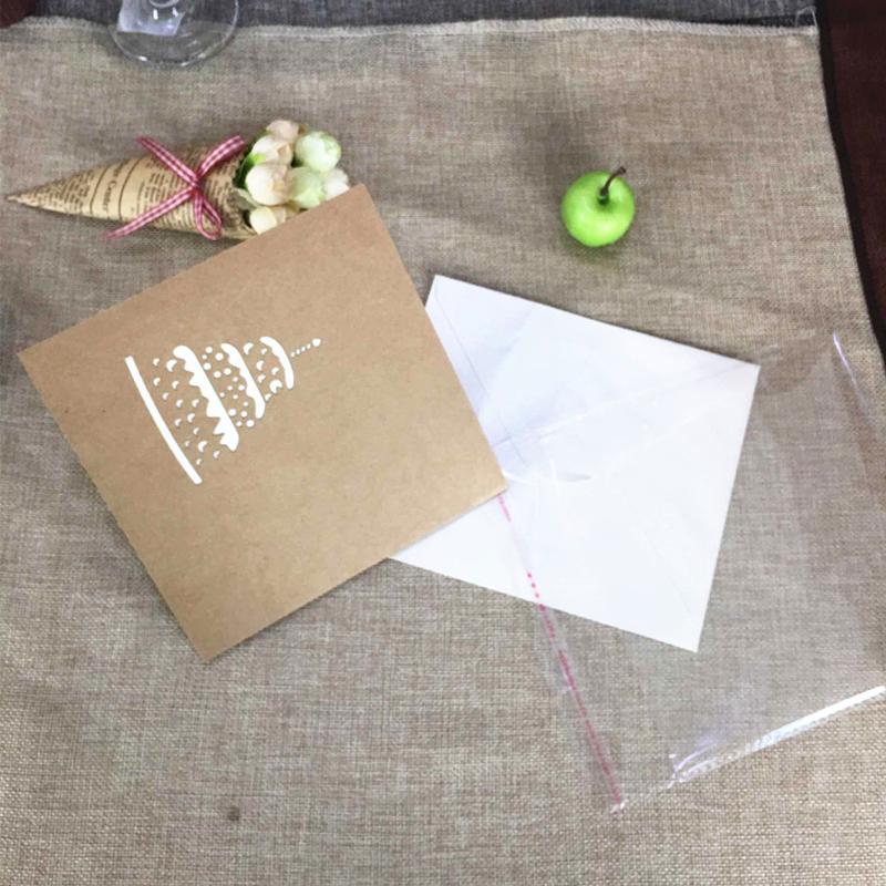 Happy Birthday Postcard Greeting Gift Cards Kraft Kirigami Blank Paper 3D Handmade Pop Up Laser Cut Vintage Cake with Envelope (6)