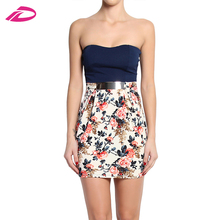 Summer Party Women Juniors Strapless Sweetheart Belted Floral Pleated Skirt Bandeau Dress