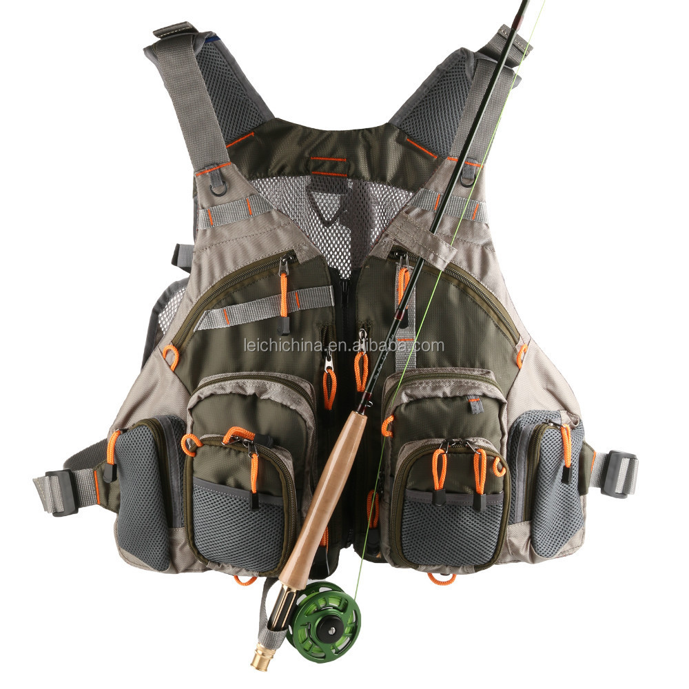 in stock fly fishing mesh vest with pocket