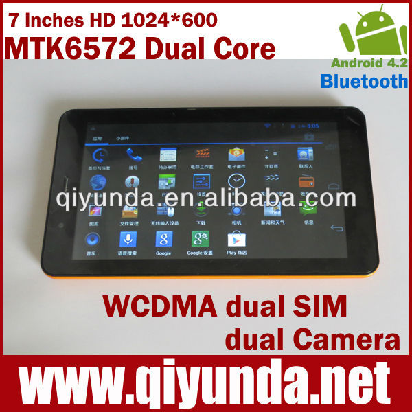 "7"" tablet sim card 3G MTK6572 dual core 1.2GHz tablet Android 4.2 RAM:512MB ROM:4GB WIFI, Bluetooth, cellular hot selling goods"