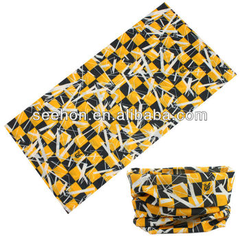screen printed black and yellow check headwear