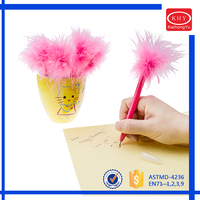 2016 new design promotional ballpoint pen for kids feather pen