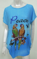 light blue parrot patterned latest long tops designs girls,girls cool summer tops,tops ladies size xxl