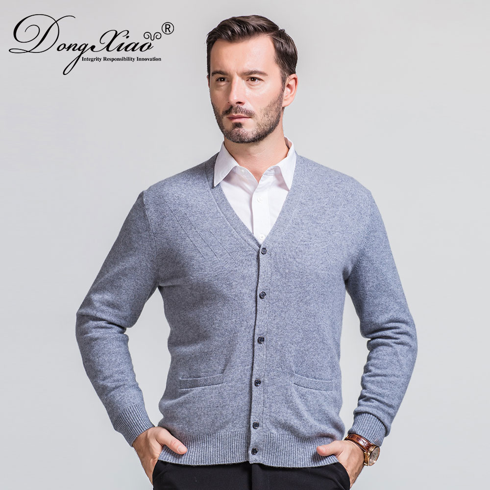 Chinese Supplier OEM Accept Large Sweater Men Cashmere Blend Bigger V Neck Cardigan