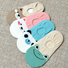 5 Pairs/lot Women Socks Candy Color Small Animal Cartoon Pattern Boat Sock Suit for Summer Breathable Casual Ladies