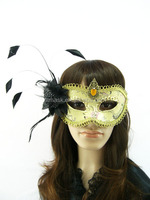 party feather mask/black craft feathers/fashion cheap black party mask