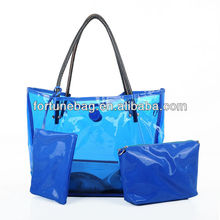 PVC waterproof beach bag with pouch