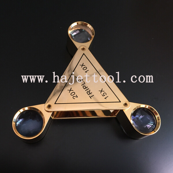 portable Triplet jeweler loupe gem inspecting triplet magnifier unique triplet loupe magnifier