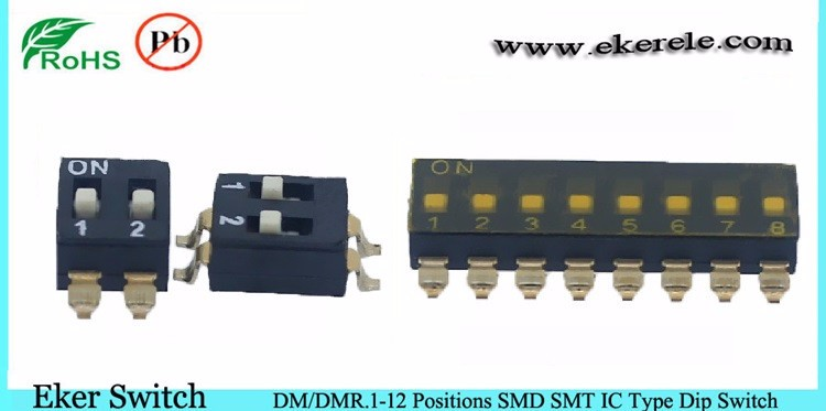 Low Profile Top Sealed SMD 1.27mm 6 positions DIP Switch