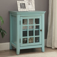 Country Vintage Style Colorful Side Table With Glass Door Furniture